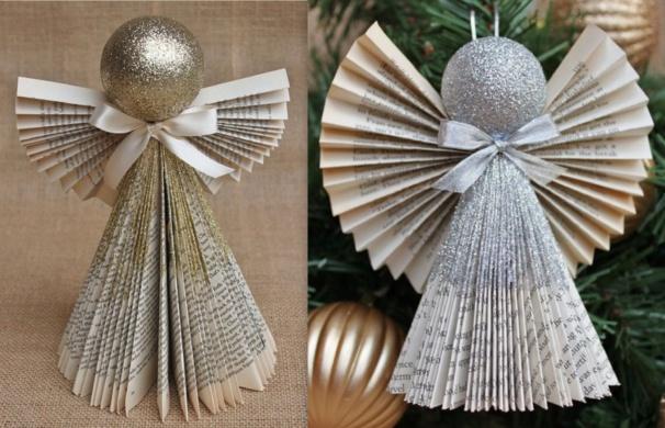 Faire des anges de no l en pliage papier - Pliage sapin de noel en papier ...