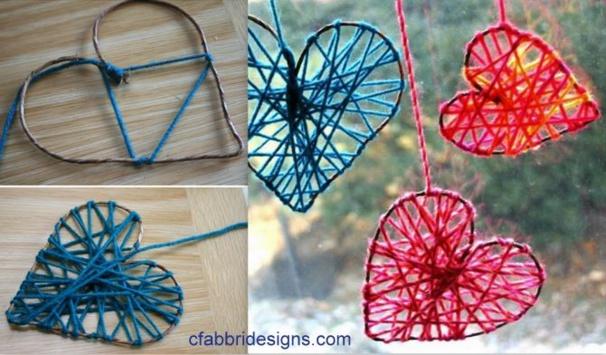 Faire un coeur en laine suspendre - Comment fabriquer un coeur ...