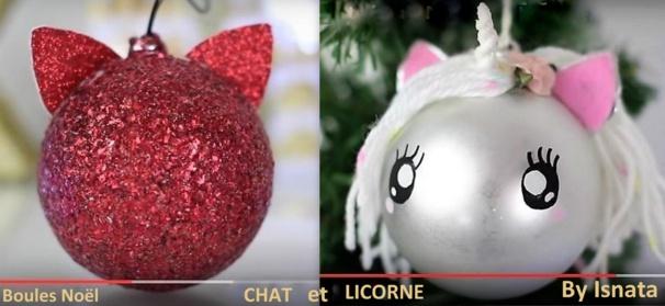 Boules de no l customis es en boules no l chat et licorne - Comment faire une boule de noel ...