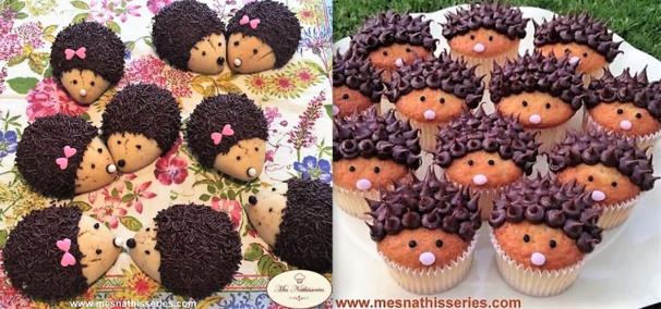 Biscuits et cupcakes hérissons