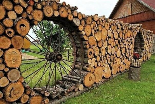 murs jardin en rondins de bois. Black Bedroom Furniture Sets. Home Design Ideas
