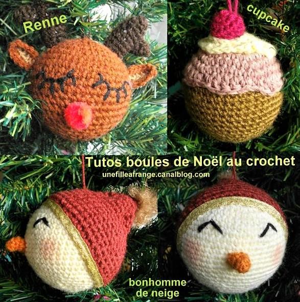 Boules de Noël au crochet, tutos