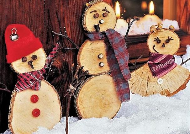 Faire des Bonhommes de neige en bois