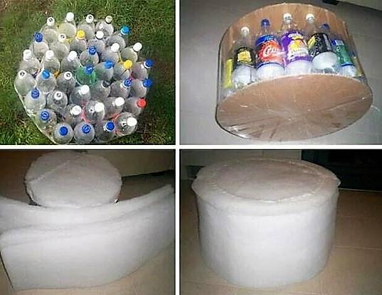 Faire un pouf avec des bouteilles en plastique