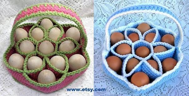 Faire un panier à oeufs en laine crochetée