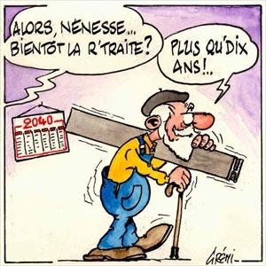 Dessins humoristiques : la retraite !