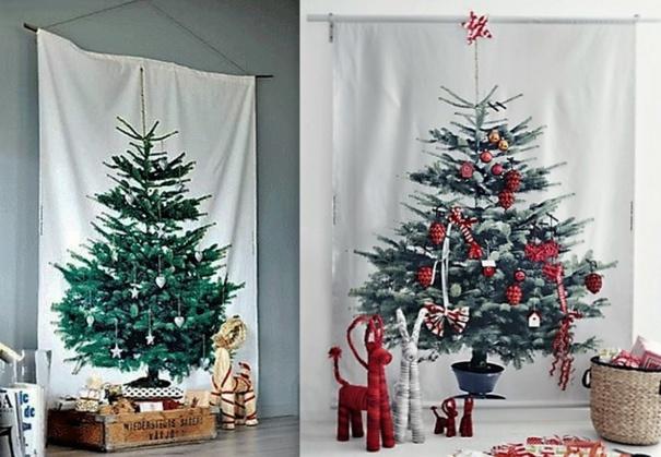 Sapins Noël imprimés sur tissu