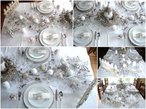20 pr sentations de table de no l for Table de noel blanche