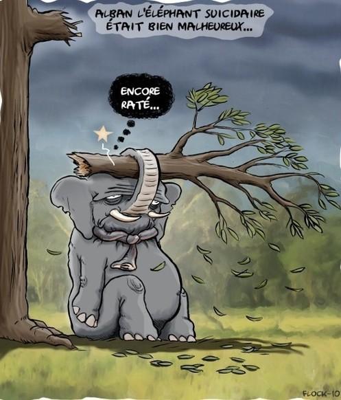 Eléphant ne supportant plus le poids de sa solitude..