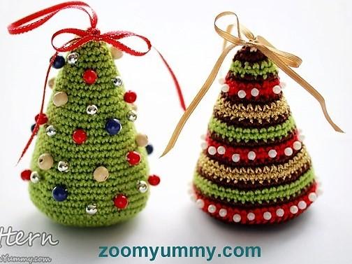 Modèles Petits sapins de Noël à faire au crochet