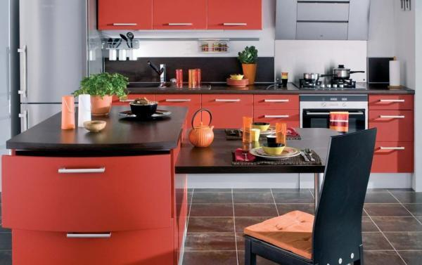 les plus belles cuisines de couleur rouge le serviettage de nafeuse. Black Bedroom Furniture Sets. Home Design Ideas