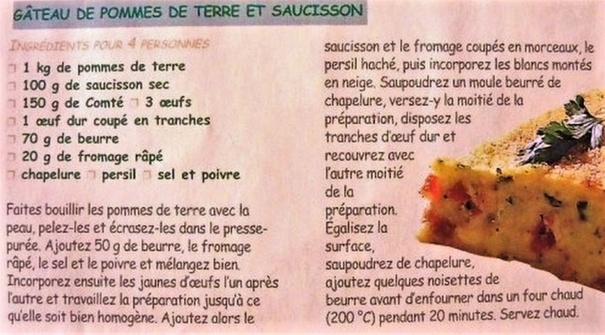 Recette : Gâteau de pommes de terre et saucisson