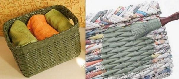 tresser un panier avec de vieux journaux. Black Bedroom Furniture Sets. Home Design Ideas