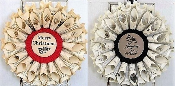 Faire une couronne de no l en papier journal - Faire des decoration de noel en papier ...