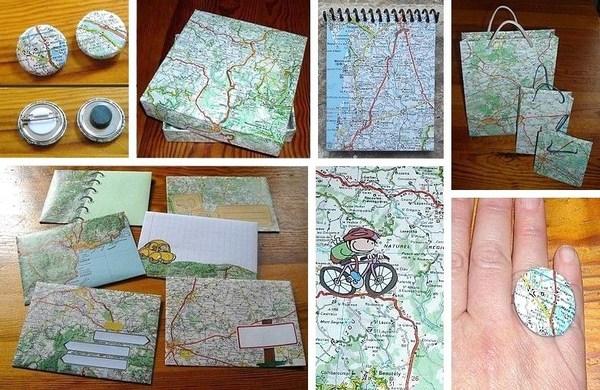 Idées récup et recyclage des vieilles cartes routières !