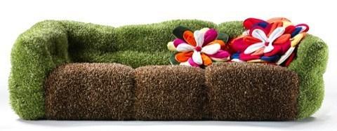 Canapé pelouse et fleurs des champs pour les écolos..