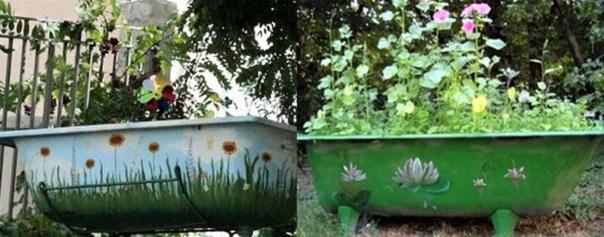 Vieilles baignoires recyclées pour le jardin