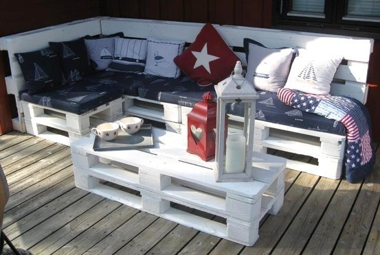 salons de jardin faits avec des palettes en bois. Black Bedroom Furniture Sets. Home Design Ideas