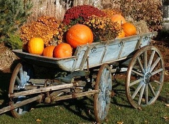 Les vieilles charrettes d'antan fleurissent le jardin !