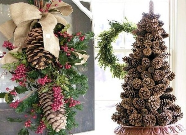 Id es d corations de no l en pommes de pin for Idee de decoration exterieur pour noel