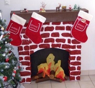 Faire une chemin e en carton pour no l - Fausse cheminee en carton pour noel ...