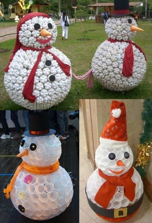 De jolis bonhommes de neige faits maison page 2 - Faire un bonhomme de neige avec des gobelets ...
