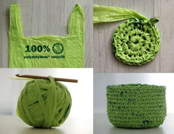 Recycler et crocheter des sacs plastique !