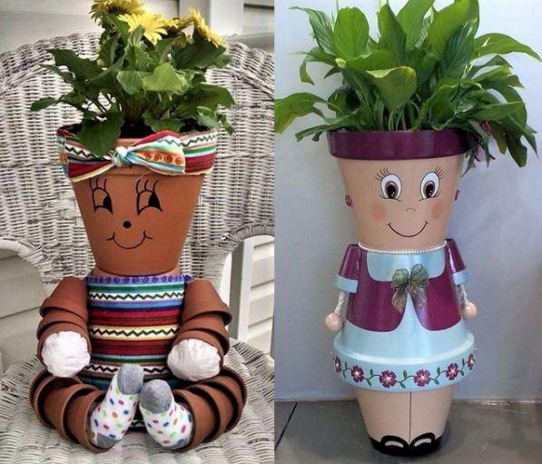 cr ations personnages en pots de fleurs page 2. Black Bedroom Furniture Sets. Home Design Ideas