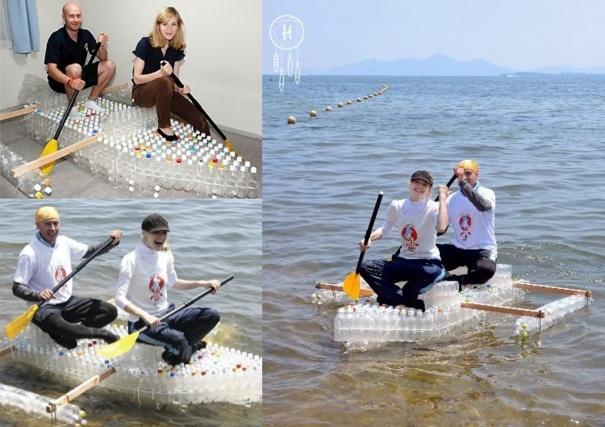 Barques et radeaux fabriqués en bouteilles plastique