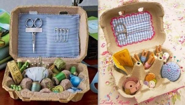 Idées récup et rangement en boites à oeufs