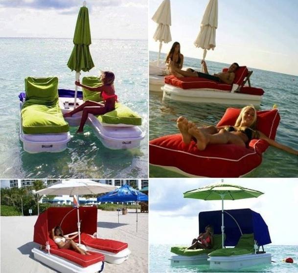 transats flottants avec parasol