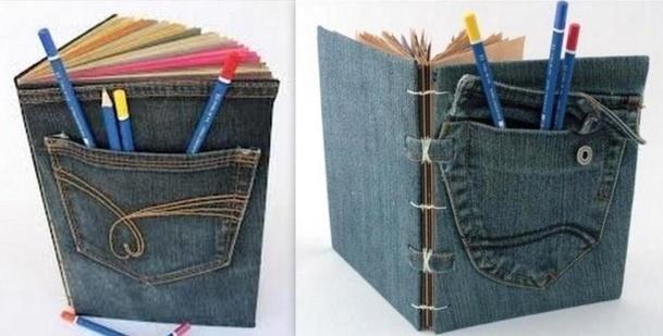 Couvertures de livres en jean recyclé, des modèles