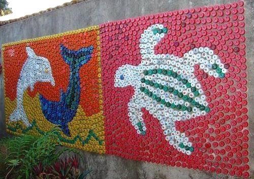Fresques murales avec des bouchons en plastique for El mural de mosaicos