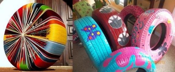 Créations artistiques pneus recyclés