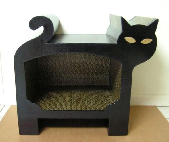 Id es pour faire niche et couchette d 39 int rieur pour - Fabriquer une cheminee en carton ...