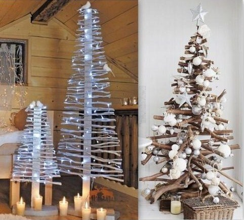 Id es pour faire un sapin de no l en bois for Fabrication decoration de noel