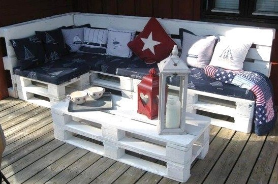 20 mod les de salons de jardin fabriqu s en bois de palettes for Salon de terrasse en palette