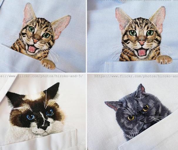 Les superbes broderies de chats et de chiens d'Hiroko Kubota