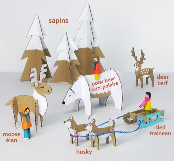 Faire des personnages de Noël en carton, modèles et gabarits
