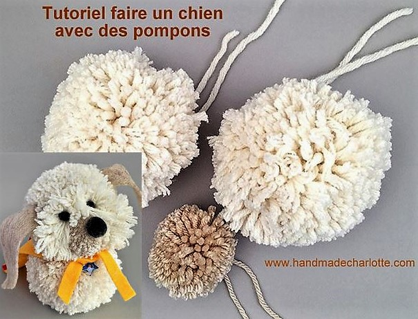 tutoriel faire un chien avec des pompons en laine. Black Bedroom Furniture Sets. Home Design Ideas