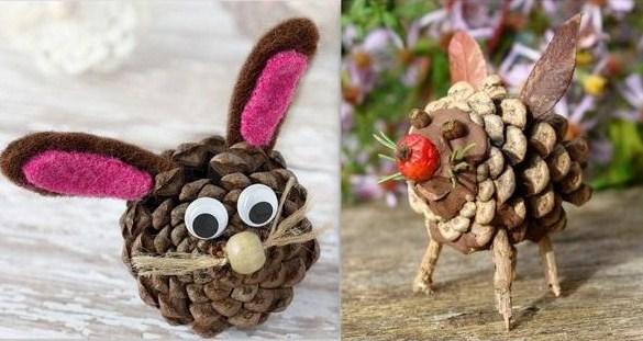 Faire des personnages en pommes de pin, modèles et tutos