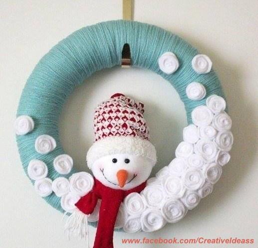 Couronnes de Noël laine et peluche
