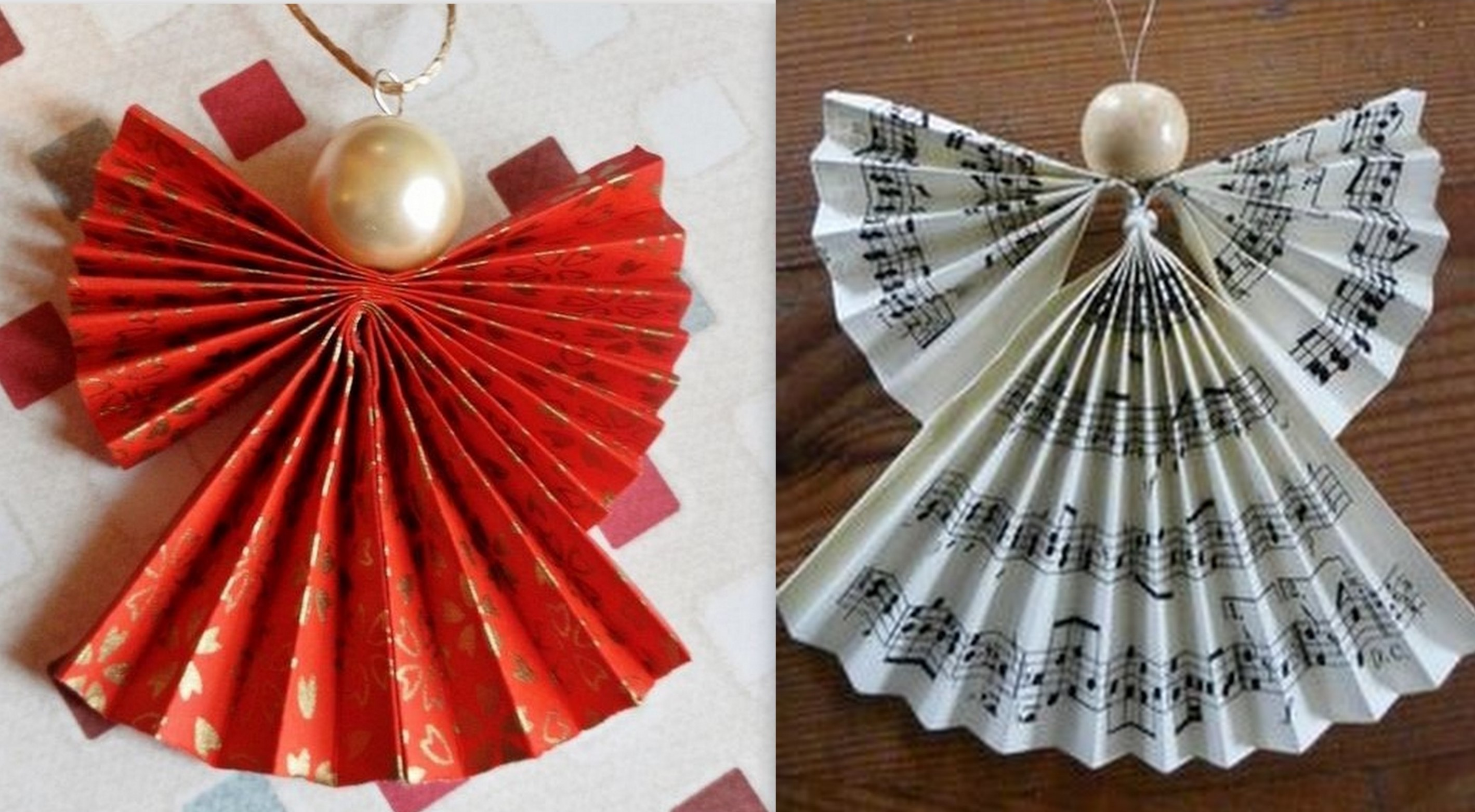 Faire des anges de no l en pliage papier - Faire des decoration de noel en papier ...