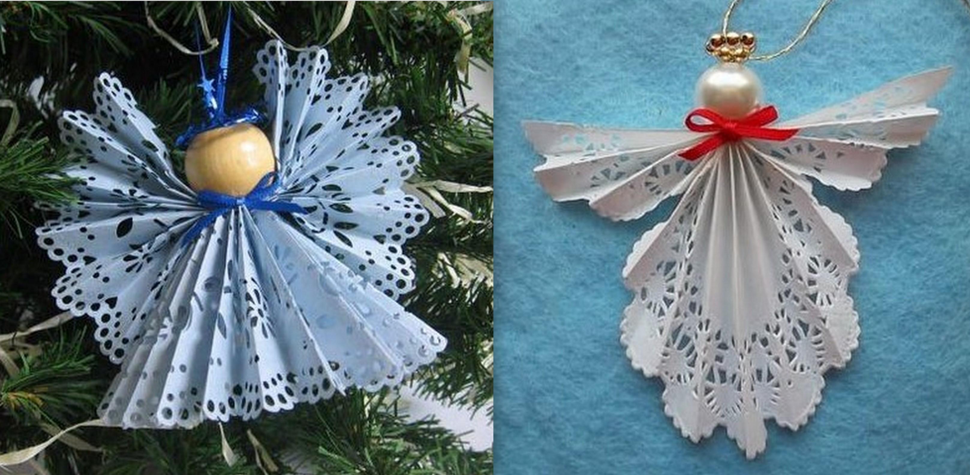 Faire des anges de no l en pliage papier - Faire des boules de noel en papier ...