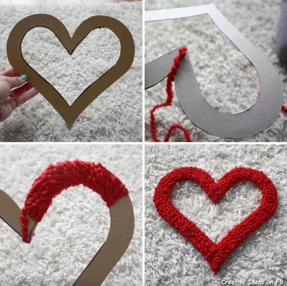 Faire un coeur en laine à suspendre