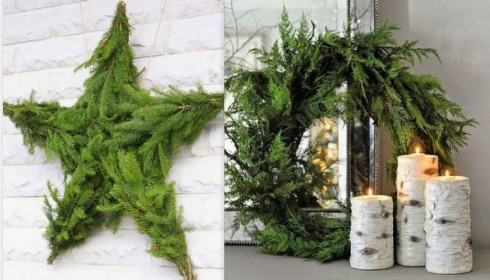 Décorations de Noël en tiges et branches de sapin