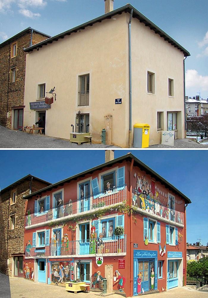 Peintures murales Street Art le avant/après