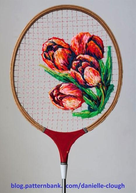 Superbes broderies sur raquettes de tennis