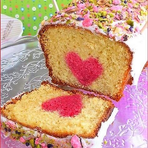 Recettes cakes surprises coeurs