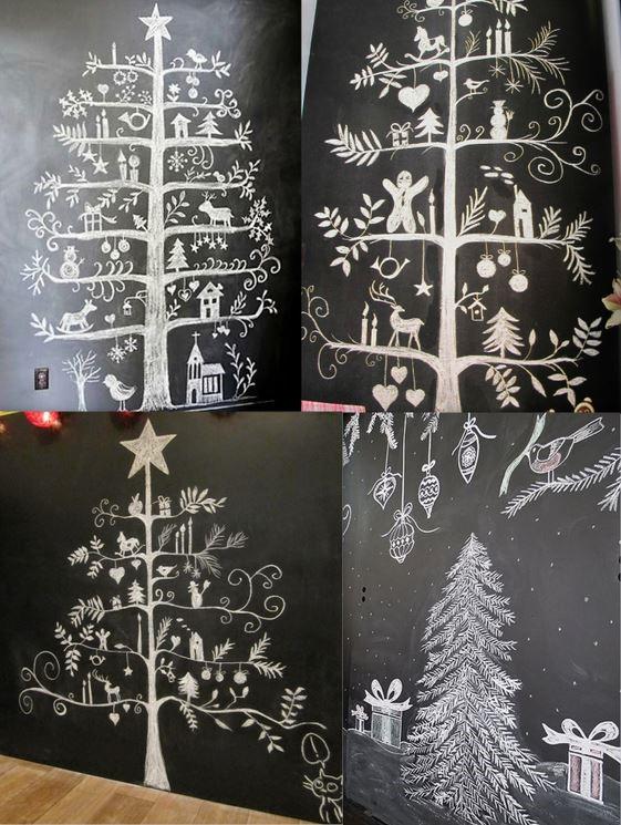 Sapins Noël dessinés à la craie...j'adore l'idée !